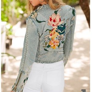EMBROIDERED DISTRESSED STUDDED DENIM JACKET